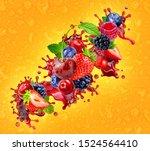 fresh ripe strawberry ... | Shutterstock . vector #1524564410