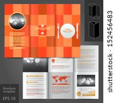 vector red brochure template... | Shutterstock .eps vector #152456483