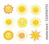 sun emoji. funny summer... | Shutterstock . vector #1524596753