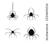 set of black scary spiders... | Shutterstock . vector #1524644216