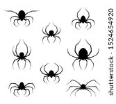 set of black spiders icons... | Shutterstock . vector #1524654920