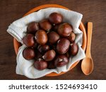Chestnuts On Clay Plate In...