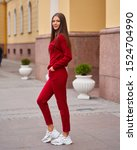 Woman In Red Sporty Clothes...