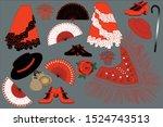 flamenco dancer belongings.... | Shutterstock .eps vector #1524743513