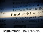 Small photo of flout word in a dictionary. flout concept, definition.