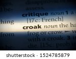 Small photo of croak word in a dictionary. croak concept, definition.
