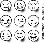 set of emoticons with different ... | Shutterstock .eps vector #1524801113