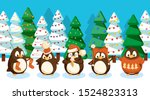 winter landscape with penguins. ... | Shutterstock .eps vector #1524823313