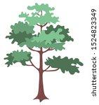 green oak tree with bushy... | Shutterstock .eps vector #1524823349