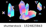 opalescent holographic crystals ... | Shutterstock .eps vector #1524825863