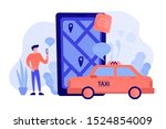 a man near huge smartphone with ... | Shutterstock .eps vector #1524854009