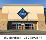 Small photo of Fargo North Dakota/USA-October 07 ,2019 , Main Entrance Of Sam's club , Sam's club is a Membership-only warehouse chain selling a variety of bulk grocery items, electronics & home goods.