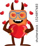 monster with heart ... | Shutterstock .eps vector #1524897683