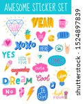 awesome sticker collection in... | Shutterstock .eps vector #1524897839