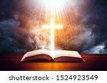 Illuminated Cross On A Holy...