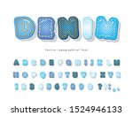 denim modern font. jeans... | Shutterstock .eps vector #1524946133