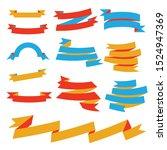 paper banner set in yellow  red ... | Shutterstock .eps vector #1524947369