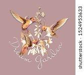 beautiful gold hummingbirds ... | Shutterstock .eps vector #1524953633