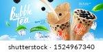 bubble milk tea banner ads with ...   Shutterstock .eps vector #1524967340