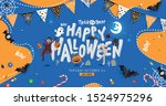 halloween halloween decorative... | Shutterstock .eps vector #1524975296