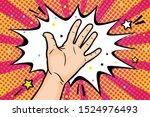 gesture open palm in retro...   Shutterstock .eps vector #1524976493