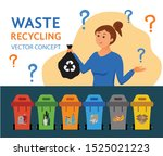 young woman throwing garbage... | Shutterstock .eps vector #1525021223