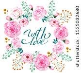 decorative watercolor flowers.... | Shutterstock . vector #1525032680