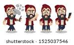 bearded hipster in skully hat... | Shutterstock .eps vector #1525037546