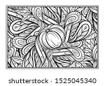black and white autumn ornament.... | Shutterstock .eps vector #1525045340