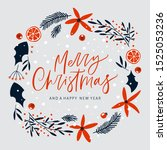 merry christmas greeting card... | Shutterstock .eps vector #1525053236