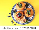 Plate With Tasty Blueberry...