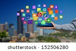 tablet in hands with colorful... | Shutterstock . vector #152506280