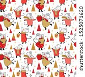 seamless pattern new year and... | Shutterstock .eps vector #1525071620