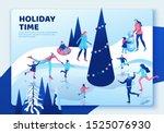 winter isometric people landing ...