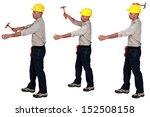 tradesman using a hammer   Shutterstock . vector #152508158