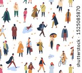 tiny people in trendy clothes... | Shutterstock .eps vector #1525085870