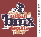 Bmx rider - Grunge vector artwork for boy sportswear in custom colors