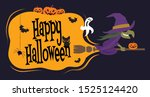 happy halloween. cartoon witch... | Shutterstock .eps vector #1525124420