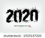 number 2020 illustrated with... | Shutterstock .eps vector #1525137320