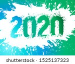 number 2020 illustrated with... | Shutterstock .eps vector #1525137323