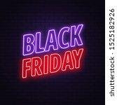 black friday sale. neon sign on ... | Shutterstock .eps vector #1525182926