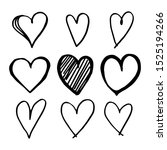 icon set of hand drawn heart ... | Shutterstock .eps vector #1525194266