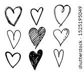 icon set of hand drawn heart ... | Shutterstock .eps vector #1525195049