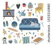 cozy winter vector... | Shutterstock .eps vector #1525210880