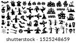 set of silhouettes of halloween ... | Shutterstock .eps vector #1525248659