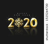 realistic golden numbers 2020... | Shutterstock .eps vector #1525264730