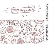 bon  appetit  tasty set... | Shutterstock .eps vector #1525286699
