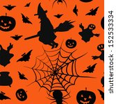 halloween card seamless pattern ... | Shutterstock .eps vector #152533334