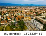 Panoramic aerial view of Udine cityscape, Italy