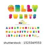 sweet 3d gelly font. cute... | Shutterstock .eps vector #1525369553